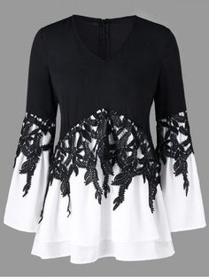 Bell sleeve applique color block blouse black superb summer outfits ideas to inspire you ideas inspire outfits summer superb hkeln sie kleidung outfit Moda Fashion, Girl Fashion, Womens Fashion, Casual Dresses, Fashion Dresses, Dresses Dresses, Black Blouse, Black Pants, Blouse Designs