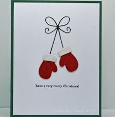 Laurie's Stampin Place: Red mittens - My WordPress Website Christmas Card Crafts, Homemade Christmas Cards, Christmas Cards To Make, Homemade Cards, Christmas Card Decorations, Christmas Ornaments, Chrismas Cards, Diy Holiday Cards, Christmas Quotes