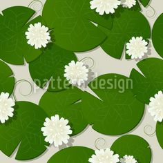 Water lilies design Art Print by rceeh Vector Pattern, Pattern Design, Spring Blossom, Water Lilies, Vector File, Surface Design, Design Art, Plant Leaves, Lily