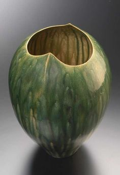 'Tea Cup' by Japanese ceramic artist Demachi Mitsunori. glazed clay, 4 1/2″ x 3″ via Keiko Gallery