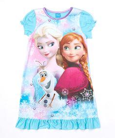 Look what I found on #zulily! Blue Frozen Anna, Elsa & Olaf Nightgown - Girls #zulilyfinds
