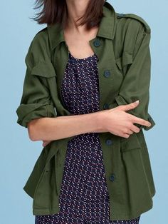 Shop Army Green Lapel Drawstring Trench Coat from choies.com .Free shipping Worldwide.$46.99