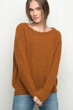 brandy melville soft knit burnt orange pull over Leia sweater NWT OS 1f7057cb3