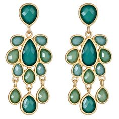 Jewel Cabana Chandelier Earrings in Emerald
