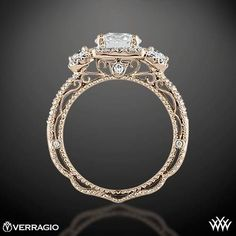 Ring Side View of Verragio Triple Halo 3 Stone Engagement Ring...