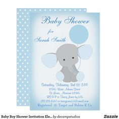 Download free template got the free baby shower invitations baby baby boy shower invitation elephant blue gray blue elephant with balloon boy baby shower invitation customize to your preference filmwisefo