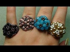 Find Cocktail Beaded Ring Tutorial in the Jewelry Making Tutorials - Beadweaving - Thread - Rings category on DIY Lessons - Learn Jewelry Making With Online Lessons, Videos and PDF Tutorials Tutorial Anillo, Ring Tutorial, Bracelet Tutorial, Beaded Rings, Beaded Jewelry, Handmade Jewelry, Jewellery, Beaded Bracelet, Earrings Handmade