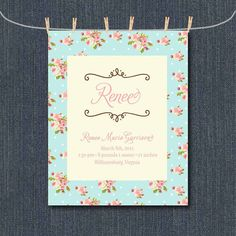 Shabby Chic Baby Girl Birth Announcement for Wall