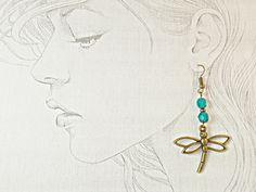 Dragonfly long dangle bronze earring, elegant turquoise dragon fly bronze… #dangle#earrings#turquoise#long#etsy#