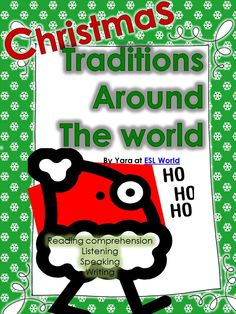This unit is a bundle of activities for christmas! it includes reading comprehension & incorporates speaking, listening, and reading skills for ESL students.  Activities include: -speaking role play cards. -reading text. -writing tasks. -responding to text and vocabulary. -discussion tasks. -listening gap fill task. ESL World $