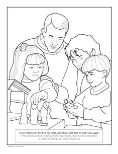 A family reading together Childrens coloring page from ldsorg