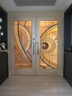 Custom Made Custom Made Hard Maple Doors With Contemporary Stained Glass Panels - Cool Glass Art Designs Contemporary Stained Glass Panels, Modern Stained Glass, Stained Glass Door, Stained Glass Designs, Stained Glass Patterns, Door Panel Curtains, Entry Doors With Glass, Glass Doors, Modern Door
