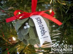stayathomeartist.com: mistletoe pomander ornament...
