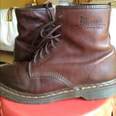 Vintage doc Martens These are a beautiful pair of brown Dr. Martens that are about 15 years old but only worn about ten times. They have so much life left! They are a men's 10 but run a little narrow. They are made in England and in great condition. I can post more pictures in another post if wanted. Feel free to ask any questions  price is firm Dr. Martens Shoes Lace Up Boots