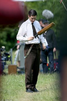 Thomas of Downton Abbey, village scenes series final filming, June 2015.. The Bates' Legal Team..RJC & Michael Fox shooting in Bampton..