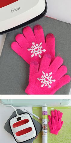 Winter Gloves DIY with a Cricut machine and the Cricut EasyPress 2 - Holiday Rainy Day Crafts, Diy Crafts For Kids, Gifts For Kids, Diy Vinyl Projects, Circuit Projects, Winter Gloves, Diy Presents, Cricut Creations, Homemade Crafts