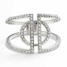 Jennifer Lopez Silver Tone Simulated Crystal Cuff Bracelet