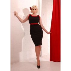 Pinup Couture Dayna Dress in Black with Red Trim, XL, never worn, discontinued item $80 – fits small around rib cage.