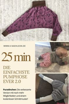 Die Pumphose Purzelinchen – einfachste Hose ever in der Version Free pattern for the simplest bloomers at all. As an upcycling from a gauze diaper or other fabrics in sizes 80 to Ideal for beginners or in between a quick project for children to sew. Love Sewing, Sewing For Kids, Baby Sewing, Sewing Hacks, Sewing Tutorials, Sewing Tips, Sewing Patterns Free, Free Pattern, Easy Baby Blanket