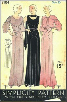 1930s Ladies Gown In Two Styles - Sewing Pattern - Simplicity #1104