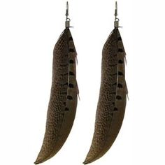 "7"" Long Feather Earrings in Brown with Silver Finish."