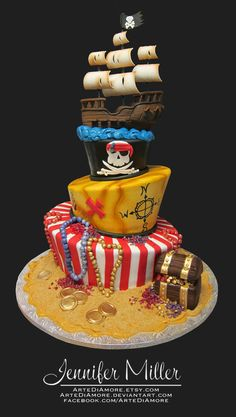 pirate cake love the compass idea for cake. Would love to do a map where it starts at 5 and bounces to different islands and ends on 6 island. For Connor turning Fondant Cakes, Cupcake Cakes, Cupcakes, Pirate Birthday Cake, Pirate Cakes, Birthday Star, Birthday Cakes, Pirate Wedding, Pirate Theme