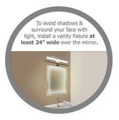 "LED Lighting Facts | To avoid shadows and surround your face with light, install a vanity fixture at least 24"" wide over the mirror - by Edge Lighting"