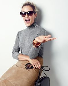 J.Crew women's 10 percent turtleneck T-shirt, Collection A-line midi skirt in suede, Ryan sunglasses, tortoise and Lucite link bracelet and Marlo crossbody bag.