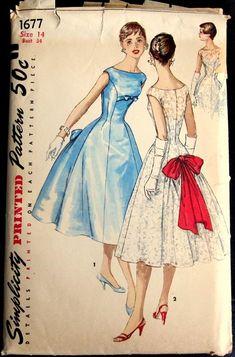 Simplicity 1677 Misses Princess Seam Cocktail Dress Copyright 1956