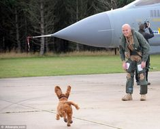 so precious! Puppy couldn't wait to see owner returning for deployment!