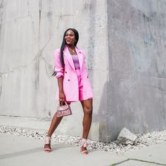 Jenn Ibe, Cranberry Tantrums, Shorts suit, pink out, how to wear a short suit, pink suit, #pinkstyle #outfitinspiration #workoutfit Pink Fashion, Fashion Outfits, Pink Out, Short Suit, Pink Shorts, Suits, Clothes For Women, How To Wear, Style