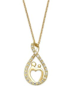 A little bling never hurt anyone... B. Brilliant Cubic Zirconia Mother and Child Infinity Pendant Necklace in 18k Gold over Sterling Silver (1/4 ct. t.w.) from Macys #poachit