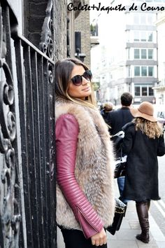 Jaqueta de couro com colete de pele por cima!
