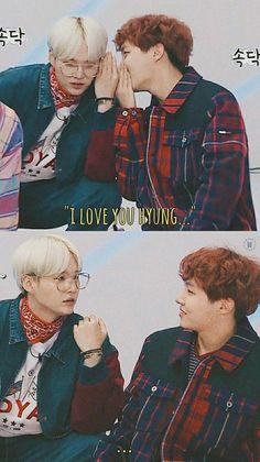Hoseok: psst yoongi you look handsome smiles Yoongi: *blushes* WHAT? Pfft no Hoseok Bts, Bts Suga, Bts Bangtan Boy, Seokjin, Namjoon, Taehyung, Vmin, Yoonmin, Jikook