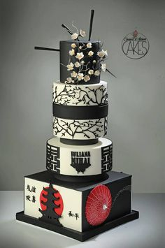 Cinzia D'Adamo Cakes - black, red and white modern Asian-themed cake.