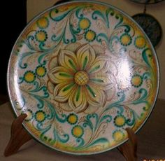 LARGE HAND PAINTED DECORATIVE PLATE FOR WALL OR PLATE STAND & Violet decorative plate \