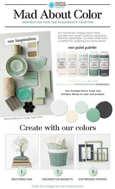 Home decor color palette #madaboutcolor idea inspired by Martha's vintage collectibles! Get #DIY ideas with Martha Stewart #Crafts Vintage Decor paint and the limited edition paint kit @Martha Stewart Crafts #plaidcrafts and find in @michaelsstores