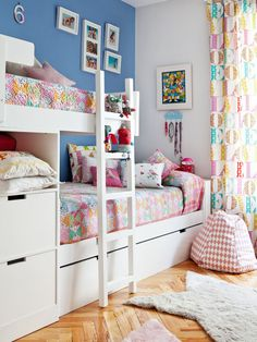 New shared bedroom reveal - Joanna Anastasia Bunk Beds For Girls Room, Bunk Bed Rooms, Bunk Beds With Stairs, Girls Bedroom, Sibling Bedroom, Sister Room, Youth Rooms, Cute Room Ideas, Shared Bedrooms