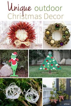 Really fun and non-tranditional holiday decorations you can DIY! Handmade adornments from wood, wreaths and lots of twinkly lights are sure to bring the holiday cheer. Get the whole list here: http://www.ehow.com/how_6225547_make-unique-outdoor-christmas-decorations.html?utm_source=pinterest.com&utm_medium=referral&utm_content=curated&utm_campaign=fanpage
