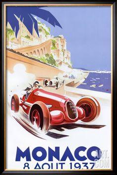 Grand Prix, Monaco, Vintage Poster, by Geo Ham. Vintage Films, Retro Poster, Art Deco Posters, Car Posters, Vintage Travel Posters, Poster Prints, Vintage Art, Deco Retro, Travel Ads