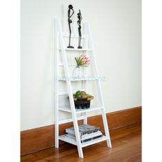 Mocka's Ladder Shelf - White is a stylish and affordable white shelving unit. The funky ladder design will suit any room in the house. Ladder Bookshelf, Bookshelf Design, Bookcase, Shelf Furniture, Types Of Furniture, Kids Furniture, Display Shelves, Wall Shelves, White Shelving Unit