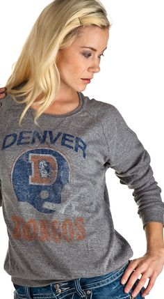 Junk Food Denver Broncos Women's Triblend Long Sleeve Crew - Steel - Anonymous LA