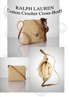 """Inspiration:RL crocheted cotton and corresponding leather accents. Leather adjustable cross-body strap. Front flap secures with a braided leather knot closure. Accented with our leather Proprietor luggage tag. Lined in cotton drill with a zip pocket and a mobile niche. 9"""" H x 9"""" L x 1"""" D. Cotton and leather. Imported."""