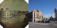 La segunda foto tomada en Barcelona en 1848. Casa Xifré, comparada con una foto actual. Según la fotografía actual, la del 1848 fue tomada desde el frente del edificio de Correos y telégrafos y no desde Pla de Palau