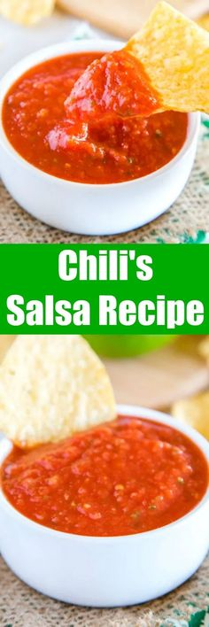 Chili's Salsa Recipe (Restaurant Copycat) – Dinners, Dishes, and Desserts Chili's Salsa Recipe – do you love the restaurant Chili's chips and salsa? It is so easy to make at home year round! Great for taco night, game day or just because! Yummy Appetizers, Appetizer Recipes, Dinner Recipes, Copycat Recipes, Sauce Recipes, Cooking Recipes, Mexican Dishes, Mexican Food Recipes, Ethnic Recipes