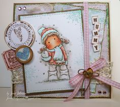 Jane's Lovely Cards: A Pastel Christmas Card, Tilda by Magnolia stamps, #stamping