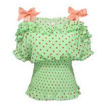 Polka dots chiffon shirt,off-the-shoulder mint green blouse-Price: US$ 19.80^^.Com