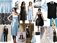 Black, White, an Ice Blue : PANTONE WEDDING Styleboard : The Dessy Group