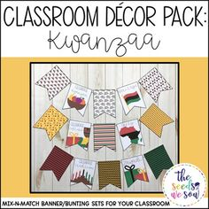 Do you have a space on your classroom wall or door where you need that perfect piece of seasonal or holiday decor? Look no further! This Kwanzaa Banner Pack has got you covered. Its fun and fresh design will bring the perfect Kwanzaa-touch to your classroom!