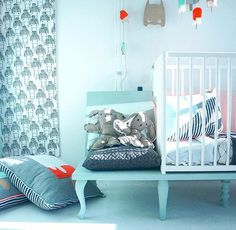 Designed By June: girls wallpaper, icecream cushions, mobile and guirlande and last but not least bed with stool.